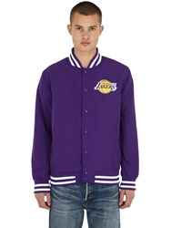 New Era Nba Team Apparel Bomber Jacket Purple
