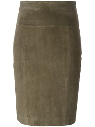Eleventy Suede Pencil Skirt Brown