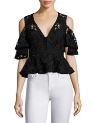 Nanette Lepore Cocktail Lace Peplum Top Black