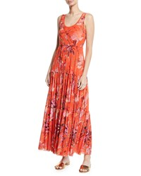Fuzzi Botanical Tiered Tulle Maxi Dress Coral