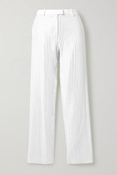 Michael Kors Collection Crystal Embellished Crepe Wide Leg Pants Ivory