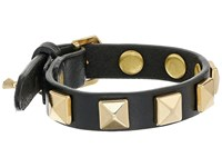 Rebecca Minkoff Single Row Leather Bracelet With Pyramid Studs Black Gold Bracelet