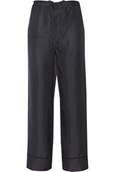 Rag And Bone Gabrielle Polka Dot Silk Twill Wide Leg Pants Blue