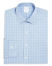 Brooks Brothers Gingham Overcheck Non Iron Classic Fit Dress Shirt Blue