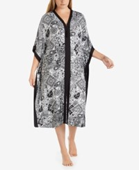 Ellen Tracy Plus Size Wide Sleeve Printed Caftan White Grid