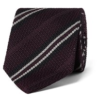 Drakes Drake's 8Cm Striped Woven Silk Tie Red