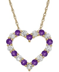 Macy's Amethyst 5 8 Ct. T.W. And White Topaz 3 4 Ct. T.W. Heart Pendant Necklace In 14K Gold Yellow Gold