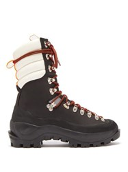 Ganni Marianna Leather Hiking Boots Black White