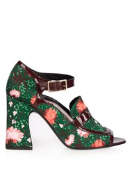 Erdem Amaris Carnation Print Satin Pumps Green Multi