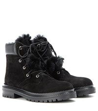 Jimmy Choo Elba Flat Fur Lined Suede Boots Black