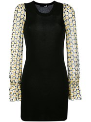 Love Moschino Floral Print Sleeves Dress Black