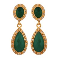 Carousel Jewels Green Onyx And Crystal Double Drop Earrings Gold Green