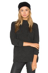 Three Dots Penny Mock Neck Sweater Charcoal