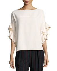 See By Chloe Boat Neck Ruffled Sleeve Crepe Top White