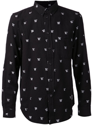Wood Wood 'W' Button Down Shirt Black