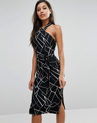 Lavish Alice Halterneck Midi Dress Black White Multi