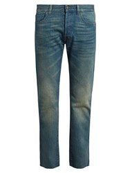 Gucci Back Embroidered Slim Fit Jeans Light Blue