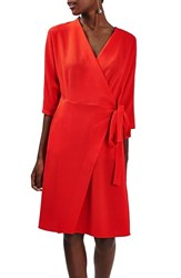 Topshop Women's Dolman Sleeve Wrap Midi Dress Red