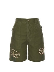 Bliss And Mischief Field Poppy Cotton Shorts Khaki