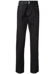 Emporio Armani Belted Slim Fit Jeans Blue