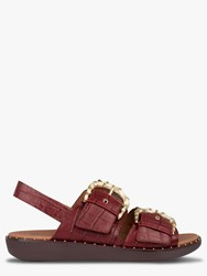 Fitflop Kaia Croc Print Leather Slides Red