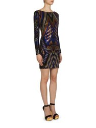 Balmain V Back Beaded Dress Black Blue