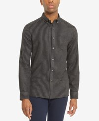 Kenneth Cole Reaction Men's Striped Flannel Shirt Charoal Grey Combo