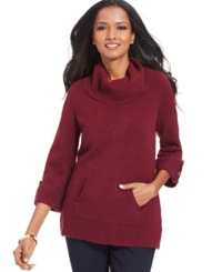 Style And Co. Petite Textured Turtleneck Sweater Orchard Vine