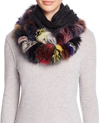Surell Infinity Loop Scarf With Fox Fur Trim Multi Black