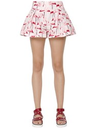 Red Valentino Flamingo Printed Faille Shorts