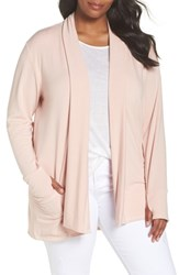 Caslon Plus Size Off Duty French Terry Cardigan Pink Smoke