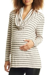 Everly Grey Reina Cowl Neck Maternity Nursing Top Charcoal Stripe