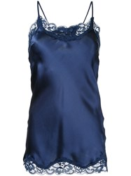 Gold Hawk Lace Trim Cami Top Women Silk Nylon Xl Blue