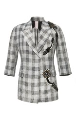 Antonio Marras Three Quarter Sleeve Plaid Blazer Grey White
