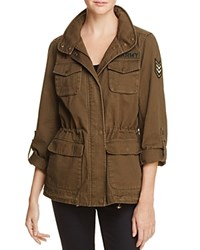 Vince Camuto Floral Embroidered Military Jacket Army