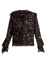 Msgm Splatter Print Cotton Blend Jacket Black