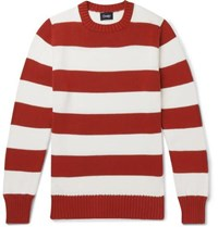 Drakes Drake's Wilcot Striped Cotton Sweater Red