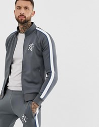 Gym King Piped Poly Funnel Neck Tracksuit Top Grey