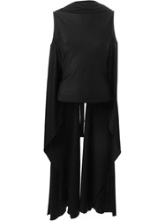 Sybilla Long Draped Vest Black