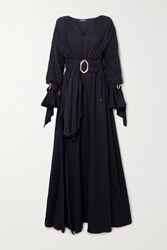 Balmain Belted Cotton Gauze Gown Black