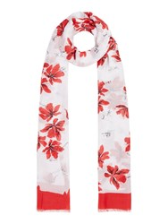 Marella Adunco Floral Rectangle Scarves White