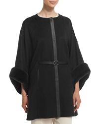 Loro Piana Margot Cashmere Cape With Mink Fur Black