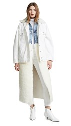 Natasha Zinko Denim Shearling Oversized Ls Jacket White