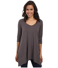 Allen Allen 3 4 Sleeve V Angled Tunic Dark Grey Women's Short Sleeve Pullover Gray