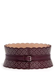 Azzedine Alaia Arabesque Rivet Border Leather Corset Belt Purple