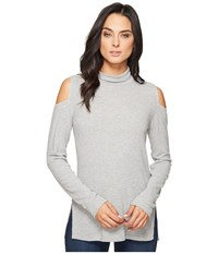 Heather Brushed Hacci Cold Shoulder Turtleneck Light Grey Women's Sweater Silver