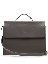 Nosakhari Standout Grained Leather Briefcase Grey
