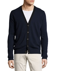 Neiman Marcus Cashmere V Neck Button Front Cardigan W Contrast Navy