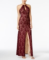 B. Darlin B Juniors' Halter Lace A Line Gown Wine Nude
