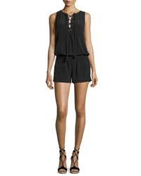 Joie Caline Sleeveless Lace Up Silk Romper Black